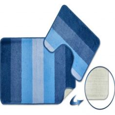 Jersey Striped Bath Mat Set - Blue