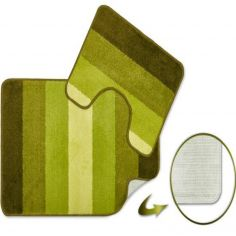 Jersey Striped Bath Mat Set - Green