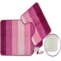 Jersey Striped Bath Mat Set - Pink