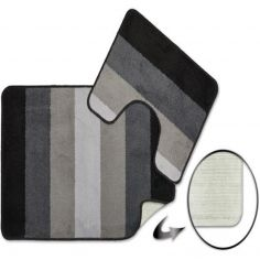 Jersey Striped Bath Mat Set - Silver Grey