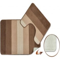 Jersey Striped Bath Mat Set - Taupe
