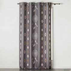 Indila Geometric Dream Catcher Unlined Eyelet Curtain Panel - Charcoal Grey & Natural