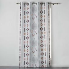 Indila Geometric Dream Catcher Unlined Eyelet Curtain Panel - White & Natural