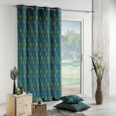 Winter Green Printed Curtain Panel with Eyelet Top - Green & Blue