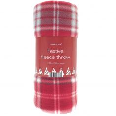 Christmas Festive Fleece Throw with Tartan Print - Red
