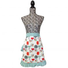 Vintage Style 100% Cotton Pinny Waist Kitchen Apron - Duck Egg Blue, Red