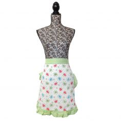 Vintage Style 100% Cotton Made with Love Pinny Waist Kitchen Apron - Green