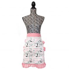 Vintage Style 100% Cotton Cup of Tea Pinny Waist Kitchen Apron - Pink