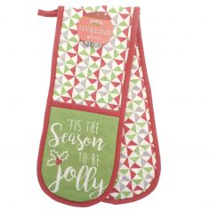 Tis The Season To be Jolly 100% Cotton Double Oven Glove - Green & Red