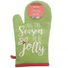 Tis The Season To be Jolly 100% Cotton Single Oven Mitt - Green & Red
