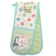 Vintage Style 100% Cotton Made with Love Double Oven Glove - Green