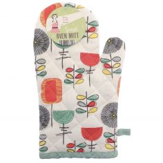 Vintage Style 100% Cotton Single Oven Mitt - Duck Egg Blue, Red