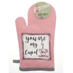 Vintage Style 100% Cotton Cup Of Tea Single Oven Mitt - Pink