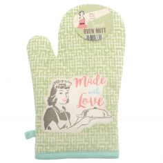 Vintage Style 100% Cotton Made with Love Single Oven Mitt - Green