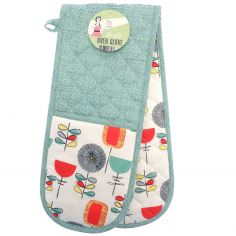 Vintage Style 100% Cotton Double Oven Glove - Duck Egg Blue, Red