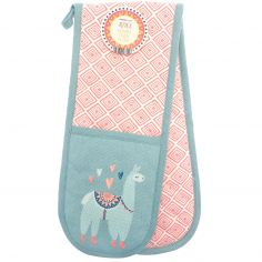 Alpaca 100% Cotton Kitchen Double Oven Glove - Pink & Blue