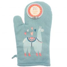 Alpaca 100% Cotton Single Oven Mitt - Pink & Blue