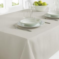 Plain Linen Look Easy Care Tablecloth - Silver Grey