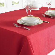 Plain Linen Look Easy Care Tablecloth - Red