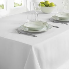 Plain Linen Look Easy Care Tablecloth - White