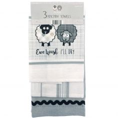 Set of 3 Embroidered 100% Cotton Kitchen Tea Towels - Ewe & Me