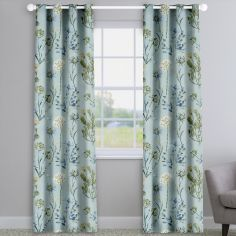 Allium Slate Blue Floral Made To Measure Curtains