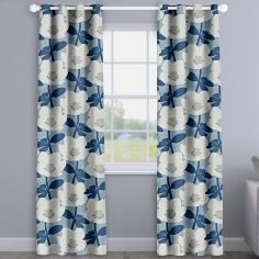 Bermondsey Denim Blue Floral Made To Measure Curtains