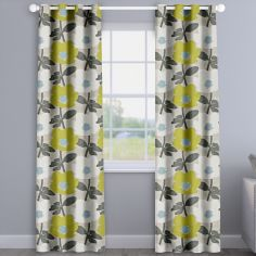 Bermondsey Fennel Green Floral Made To Measure Curtains