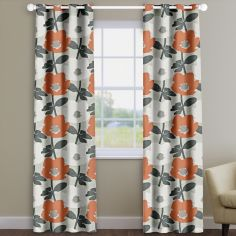 Bermondsey Mango Orange Floral Made To Measure Curtains
