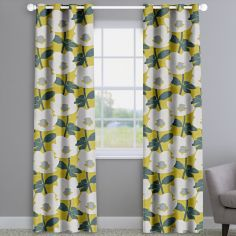 Bermondsey Ochre Yellow Floral Made To Measure Curtains