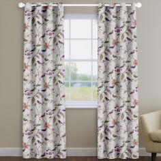 Birdsong Jewel Purple Birds And Flowers Made To Measure Curtains