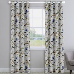Birdsong Sapphire Blue Birds And Flowers Made To Measure Curtains