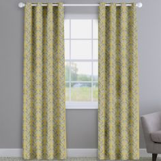 Scandi Birds Mustard Yellow Made To Measure Curtains