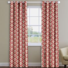 Scandi Birds  Scarlet Red Made To Measure Curtains