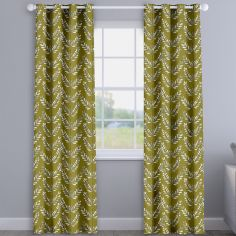 Scandi Spring Leaves Kiwi Green Made To Measure Curtains