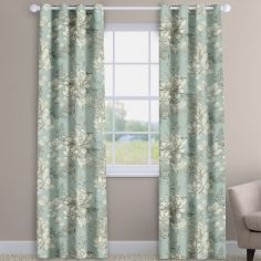 Scribble Floral Eau-de-nil Blue Made To Measure Curtains