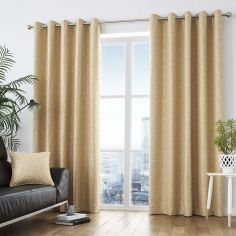 Africa Textured Fully Lined Eyelet Curtains - Ochre Yellow