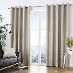 Africa Textured Fully Lined Eyelet Curtains - Stone Natural