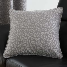 Leopard Print Cushion Cover - Graphite Grey