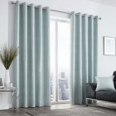 Leopard Print Fully Lined Eyelet Curtains - Duck Egg Blue