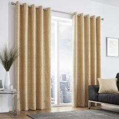 Leopard Print Fully Lined Eyelet Curtains - Ochre Yellow
