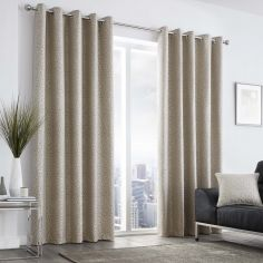 Leopard Print Fully Lined Eyelet Curtains - Stone Natural
