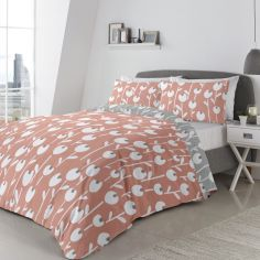 Alabar Floral Duvet Cover Set - Coral Pink & Grey