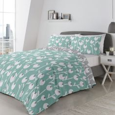 Alabar Floral Duvet Cover Set - Mint Blue & Grey