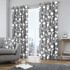 Alabar Floral Fully Lined Eyelet Curtains - Grey