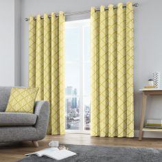 Brooklyn Geometric Fully Lined Eyelet Curtains - Ochre Yellow