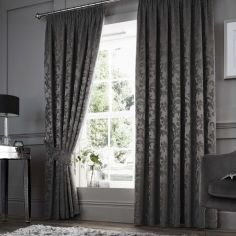 Anderton Chenille Jacquard Fully Lined Tape Top Curtains - Charcoal Grey