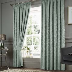 Anderton Chenille Jacquard Fully Lined Tape Top Curtains - Duck Egg Blue