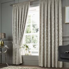 Anderton Chenille Jacquard Fully Lined Tape Top Curtains - Natural