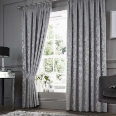 Anderton Chenille Jacquard Fully Lined Tape Top Curtains - Silver Grey